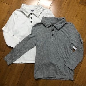 lot of 2 Old Navy Solid Jersey Long Sleeve Polo 5T